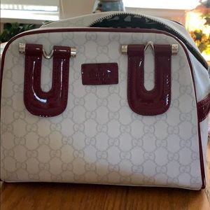 Maroon and white Gucci cross body